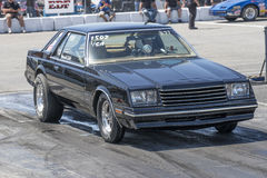 Drag racing. NHRA National Open July 12–13-14, 2015, picture of black dodge mirada in preparation at the starting line on the track Stock Photography