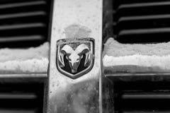 Dodge-omhoog geschoten embleem dicht stock afbeelding