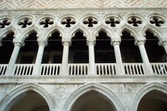 Dodge Palace - main facade. Detail of the Dodge Palace Main Facade in San Marco Square, Venice stock photos