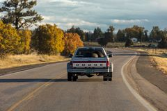 Dodge Pickup truck drives in Southern Colorado. October 8,, 2018, USA - Dodge Pickup truck drives in Southern Colorado near Chama New Mexico royalty free stock images
