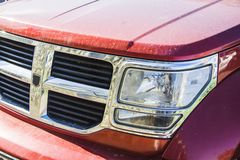Dodge picup radiator. Red dodge picup radiator grill stock images