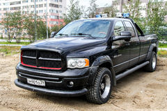 Dodge Ram 2500. NOVYY URENGOY, RUSSIA - AUGUST 15, 2012: Black pickup truck Dodge Ram 2500 in the city street Royalty Free Stock Photography