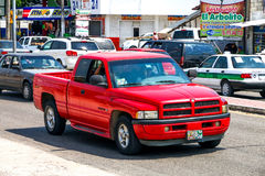 Dodge Ram 1500. PALENQUE, MEXICO - MAY 23, 2017: Pickup truck Dodge Ram 1500 in the city street stock images