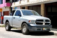 Dodge Ram. Palenque, Mexico - May 23, 2017: Silver pickup truck Dodge Ram in the city street royalty free stock images