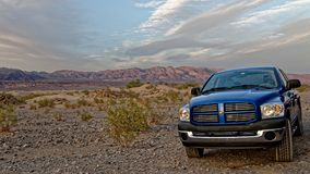 Dodge Ram in Death Valley. A Dodge Ram parked in Death Valley desert landscape in California royalty free stock photos