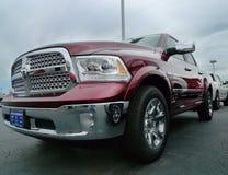 2016 Dodge Ram 1500 Pickup Truck, dark red. Dark red crew cab pickup truck on the dealership lot royalty free stock image