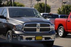 DODGE RAM PICKUPS. Lewiston /Idaho /USA- 20 June 2016_Dodge ram pickups in various model at car dealer royalty free stock photos