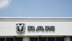 Dodge Ram Truck Logo. The Ram pickup (formerly the Dodge Ram pickup) is a full-size pickup truck manufactured by FCA US LLC (formerly Chrysler Group LLC) and royalty free stock photography