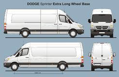 Dodge Sprinter Extra Long Delivery Van Blueprint. Dodge Sprinter Extra Long Delivery Van in scale 1:10 Ai - format for use in advertising on transport stock illustration