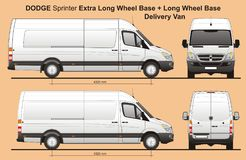 Dodge Sprinter Extra LWB and LWB Cargo Delivery Van 2010. Scale 1:10 detailed template AI Format for design and production of vehicle wraps vector illustration