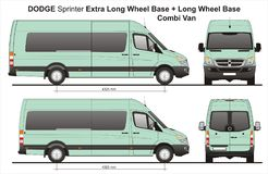Dodge Sprinter Extra LWB and LWB Combi Van 2010. Scale 1:10 detailed template AI Format for design and production of vehicle wraps royalty free illustration