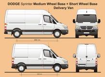 Dodge-Sprinter MWB en SWB-de Bestelwagen van de Ladingslevering 2010 Stock Foto