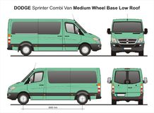 Dodge Sprinter MWB Low Roof Combi Van 2010. Scale 1:10 detailed template AI Format for design and production of vehicle wraps Stock Image