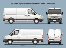 Dodge Sprinter MWB Low Roof Delivery Van 2010. Scale 1:10 detailed template AI Format for design and production of vehicle wraps Royalty Free Stock Image