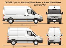 Dodge Sprinter MWB and SWB Cargo Delivery Van 2010. Scale 1:10 detailed template AI Format for design and production of vehicle wraps Stock Photo