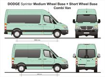 Dodge Sprinter MWB and SWB Combi Van 2010. Scale 1:10 detailed template AI Format for design and production of vehicle wraps Stock Photography