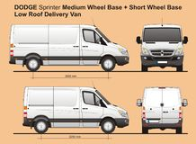 Dodge Sprinter MWB and SWB Low Roof Cargo Delivery Van 2010. Scale 1:10 detailed template AI Format for design and production of vehicle wraps Royalty Free Stock Image