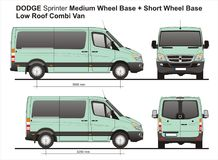 Dodge Sprinter MWB and SWB Low Roof Combi Van 2010. Scale 1:10 detailed template AI Format for design and production of vehicle wraps Royalty Free Stock Photo