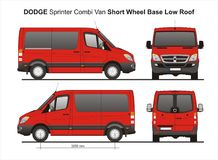 Dodge Sprinter SWB Low Roof Combi Van 2010. Scale 1:10 detailed template AI Format for design and production of vehicle wraps Royalty Free Stock Photography