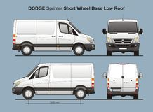 Dodge Sprinter SWB Low Roof Delivery Van 2010 stock illustration