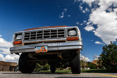Dodge truck. Park City, UT, May 12, 2017: Old Dodge truck is parked in a lot, upward view stock images
