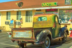 Dodge Truck Route 66. Barstow, California, USA - August 15, 2018: vintage Dodge Truck at the front of the historic Route 66 Motel in the heart of Barstow on stock photography