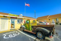 Dodge Truck Route 66. Barstow, California, USA - August 15, 2018: vintage Dodge Truck at historic Route 66 Motel in the heart of Barstow on Route 66, the city`s royalty free stock photography
