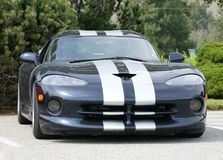 Dodge Viper Black. Black Dodge Viper with white racing stripes royalty free stock image