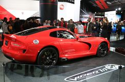 Dodge Viper GTC displayed at the auto show. Dodge Viper GTC displayed at the North American International Auto Show in Detroit Michigan USA Royalty Free Stock Image