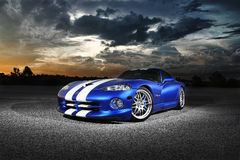 Dodge Viper GTS. A blue Dodge Viper GTS at sunset Stock Photo