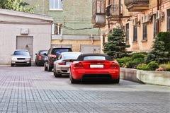 June 17, 2018, Kiev, Ukraine. Dodge Viper Hennessey Venom 1000 Twin Turbo & Porsche 911 Turbo. Back view royalty free stock image