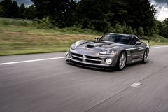 Dodge Viper on track. A Dodge Viper sports car on a track or street in speed stock photos