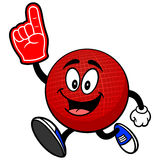 Dodgeball Mascot Running with a Foam Finger Stock Image