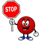 Dodgeball Mascot with Stop Sign Royalty Free Stock Photography