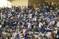 Dodger fans. Cheering during National League Championship Series (NLCS), Dodger Stadium, Los Angeles, CA on October 12, 2008 stock photography
