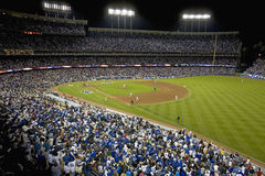 Dodger Stadium. Grandstands overlooking home plate at National League Championship Series (NLCS), Dodger Stadium, Los Angeles, CA on October 12, 2008 Royalty Free Stock Photos