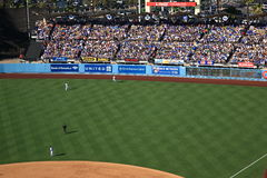 Dodger Stadium Bleachers - Los Angeles Dodgers. Dodger Stadium outfield and bleacher seats on a sunny day in Los Angeles during a baseball game Stock Photo