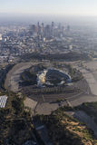Dodger Stadium and Downtown Los Angeles Aerial Stock Photo