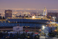 Dodger Stadium e L a Towndown fotografie stock libere da diritti