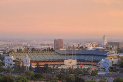 Dodger Stadium and L.A. Towndown Stock Images