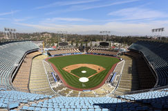 Dodger Stadium. Los Angeles, California, USA – March 17, 2014: Workers prepare for opening day inside of Dodger Stadium in Los Angeles. The stadium has been Royalty Free Stock Photos