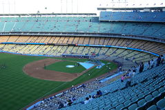 Dodger Stadium - Los Angeles Dodgers. Fans file in for batting practice before a spring baseball game at Dodger Stadium in Los Angeles Royalty Free Stock Images