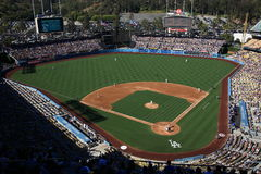 Dodger Stadium - Los Angeles Dodgers. Dodger Stadium on a sunny day in Los Angeles, with a big crowd during a baseball game Stock Images