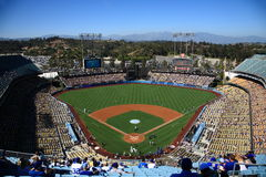 Dodger Stadium - Los Angeles Dodgers. Dodger Stadium on a sunny day in Los Angeles before a baseball game Stock Photos