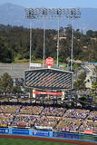 Dodger Stadium - Los Angeles Dodgers. Dodger Stadium scoreboard before a sunny day Dodgers baseball game in Los Angeles Stock Photo