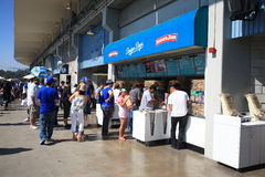 Dodger Stadium - Los Angeles Dodgers. Fans at Dodger Stadium concession stand on the upper deck Stock Photo