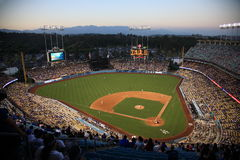 Dodger Stadium - Los Angeles Dodgers. Dodger Stadium at dusk in Los Angeles before a Dodgers baseball game Royalty Free Stock Photos