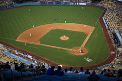 Dodger Stadium - Los Angeles Dodgers. Dodger Stadium playing field in Los Angeles during a Major League Baseball game Royalty Free Stock Image