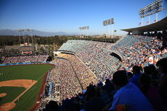 Dodger Stadium - Los Angeles Dodgers. Dodger Stadium grandstand hangs over the baseball playing field Stock Photography