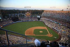 Dodger Stadium - Los Angeles Dodgers. Dodger Stadium at dusk for a baseball game in Los Angeles Royalty Free Stock Images